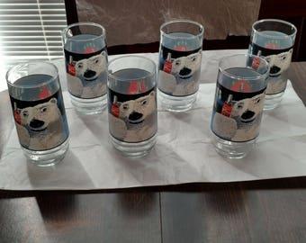Vintage Coca-Cola Polar Bear 16 oz. Drinking Glasses