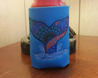Mehndi Whale Tail Can Cooler, Embroidered Can Cooler, Birthday Cozies, Embroidery Can Cooler, Cozies, Blue Mehndi Can Cooler