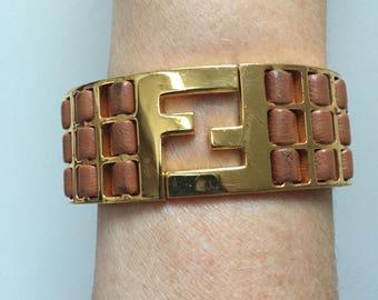 Vintage FENDI ZUCCA Logo Braided Leather and Gold Tone Cuff Bangle Bracelet White / Black