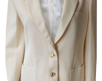 GUCCI Vintage Cream Silk Blend Blazer (44)