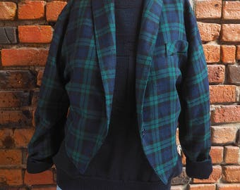 Women's 90s Navy Blue And Forest Green Plaid Check Tartan Cropped Blazer Jacket Size Small Medium