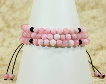 Pink Colour Dyed Quartz and Black Agate Stacker Bracelets
