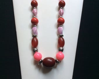 Red and pink bead necklace