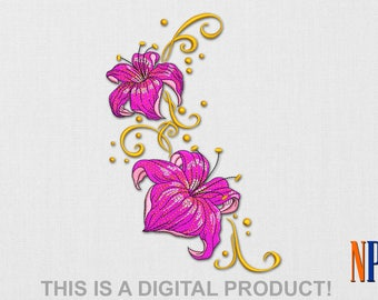 INSTANT DOWNLOAD - Lily machine embroidery design. Flower embroidery. Plants embroidery. Embroidery file