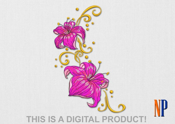 Lily machine embroidery design flower plants