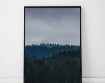 Foggy Forest, Foggy Forest Print, Forest Print, Forest Poster, Foggy Print, Foggy Mountains, Fog Landscape, Scandinavian, Forest Wall Art