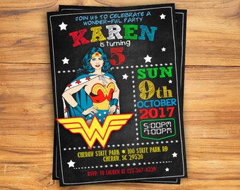 Wonder Woman Invitation, Printables wonder woman Wonder Woman Party, Wonder Woman Birthday, Wonder Woman invitations, Wonder Woman