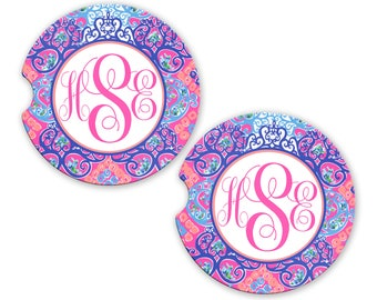 Personalized Monogram Car Coasters Coral Purple Damask, Cup Holder Coaster, Monogram Gift, Gift for Her