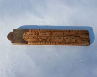 Antique folding ruler English Rabone & sons boxwood brass 24 inches antique tools rustic