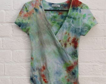 ladies Size S/10 - Body Suit - V Neck front - High Back - Festival - Ready To Ship - Tie Dyed - 100% Cotton - FREE Shipping within Aus