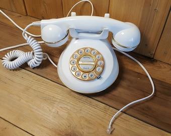 Knightsbridge Vintage Telephone Retro Cream and Gold Phone 80s 954 Landline Still Works Shabby Chic Decor