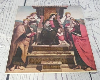 Vintage Virgin Mary & Baby Jesus Raphael Painting Madonna and Child with Saints MET Museum of Art Print on Wood Plaque Art Religious Gift