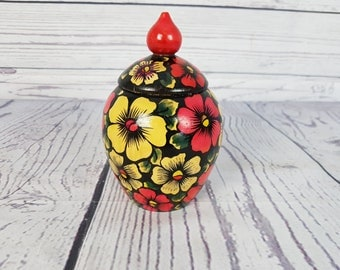 Vintage Russian Hand Made Wood Urn / Jar Hand Painted Made in Russia 1981 / Tolepainted Khokloma Pot / Russian Box