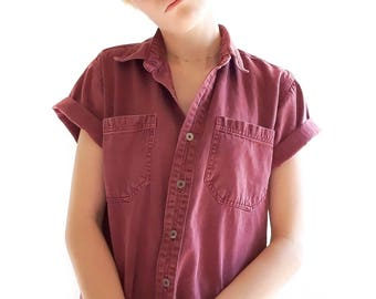Vintage Maroon Collared Polo Shirt Women's 80s Button Up Top / Women's 80s Summer Collared Shirt / Vintage Tops and Tees / Vintage Clothing
