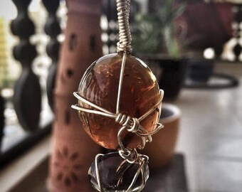 Amber and Fluorite Crystal Pendant