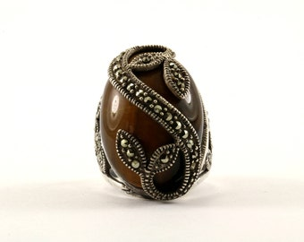 Vintage Large Tiger's Eye Marcasite Ring 925 Sterling Silver RG 303-E