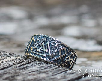 Valknut Ring with HAIL ODIN Runes Handcrafted Viking Ring Sterling Silver Norse Jewelry