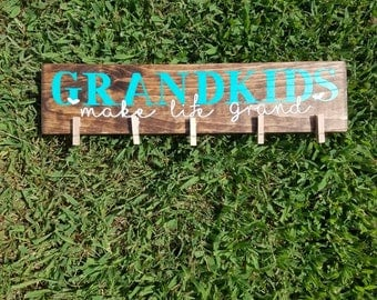 Grandkids Picture Frame | Picture Holder | Grandchildren Sign | Gift For Grandparents | Wood Wall Decor | Picture Frame | Hanging pictures