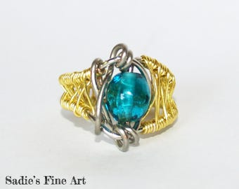 Aqua & Brass Wire Wrap Ring