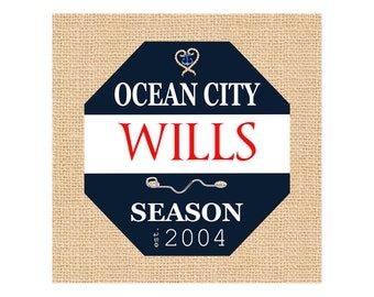 Beach Tag - Nautical Decor - Canvas - Beach House Decor - Beach Print  - Ocean City - Stone Harbor - Cape May - Navy - Canvas Name Sign