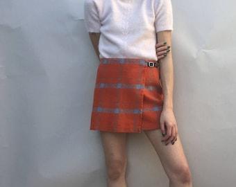 Esprit Orange Plaid Skirt