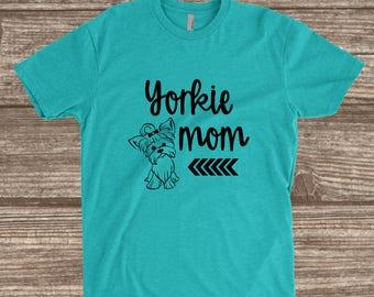 Yorkie Mom Tahiti Blue Unisex T-shirt - Yorkie T-shirts - Dog Mom Shirts - Yorkshire Terrier - Cute Dog Shirts - Custom Dog Mom Shirt