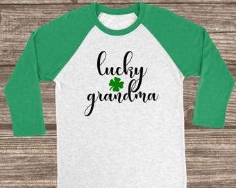 Lucky Grandma St. Patrick's Day 3/4 Sleeve Raglan T-shirt - Grandma St. Patricks Day Shirt - Women's St. Patty's Day Shirts