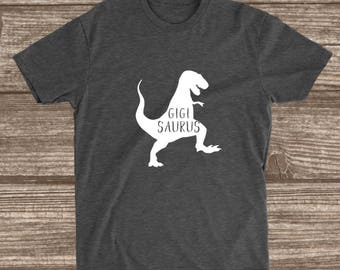 Gigi Saurus Dark Heather Grey T-shirt - Gigi Dinosaur Shirt - Gigi Shirts