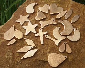 24pc, Metal Stamping Blanks, Mix&Match Charms and Blanks, Bronze Charms, Bronze Blanks, Hearts, Diamonds, Moons, Dog Bone, Arrow, Stars,