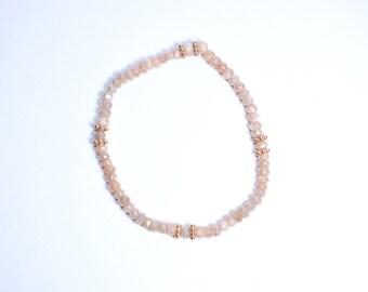 peach moonstone bracelet,elastic bracelet,gemstone bracelet,beaded bracelet ,natural stone bracelet,adjustable bracelet,stone bracelet