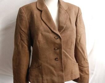Women's Vintage Italian Wool Blazer Size M Brown Tweed Jacket