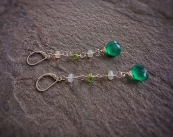 Onyx green earrings,long sterling silver earrings,Ethiopian fire opeal earrings,gemstones earrings,peridot earrings,gift for her