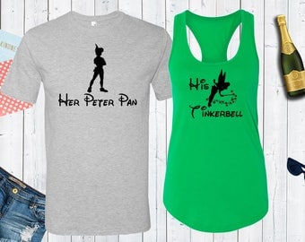 Disney Peter Pan and Tinkerbell Matching Shirts. Disney Couples Shirt. Disneyland Matching Shirts. Disney Valentines Day [E0768][E0769]