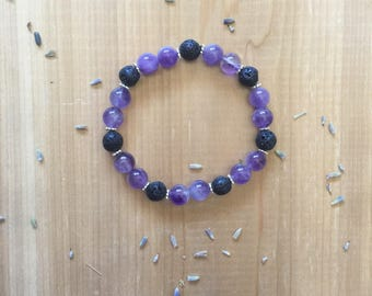 Amethyst Bracelet, Essential Oil Diffuser Bracelet, Amethyst Beads, Black Lava Beads, Silver Spacer Beads