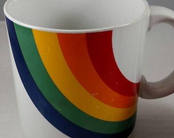 Groovy Retro 1984 ceramic Rainbow mug by FTDA, Korea 1984