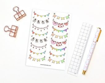 Bunting banner and garland decorative planner stickers - 16 planner stickers, bunting banner matte stickers, flag stickers