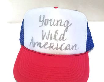 Red White and Blue| Trucker Hat | American | 4th of July | Memorial Day | Independence Day | Summer | Wild and Free | Young Wild American
