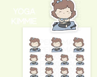 yoga kimmie workout exercise kawaii cute stickers for bullet journals and planners - C029