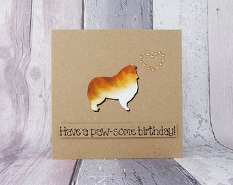 Rough Collie card, Shetland Sheepdog card, Sheltie birthday card, Dog anniversary card, Dog birthday card, Dog Valentine's Day card,