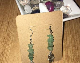 Green aventurine hamsa hand earrings
