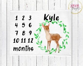 Deer Baby Blanket Boy / Woodland Baby Blanket Boy / Monthly Milestone Blanket Boy / Woodland Nursery Bedding Boy / Woodland Minky Blanket