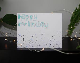 Happy Birthday Card | Birthday Card | Handmade Card | Watercolour Card | Blank Card