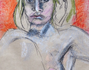 Portrait,oil pastel on brown paper