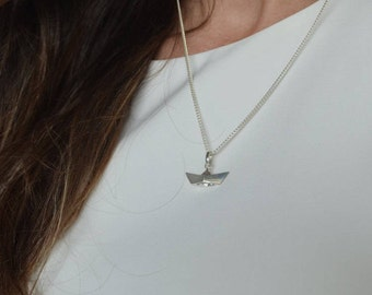 Sterling silver origami boat necklace - Sterling silver origami paper boat - 3D Origami boat - Sterling silver paper boat