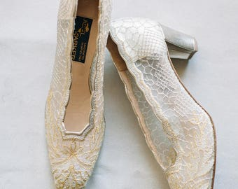 Joel Parker Italian Lace Pumps Size 85 Silver And Gold Wedding Shoes