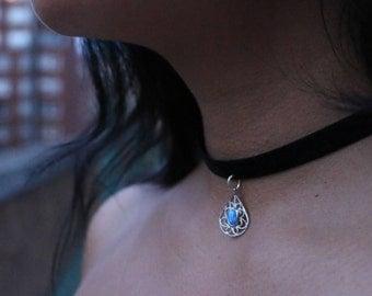 Blue Opal (faux) Choker