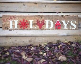 Large Happy Holidays Sign - Vintage Barn Wood - Rustic Christmas - Farmhouse Style Decor