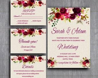 Set de Boho invitación invitación Suite para imprimir, flores boda, descarga inmediata, invitación de boda Bohemia Digital, invitación Tribal