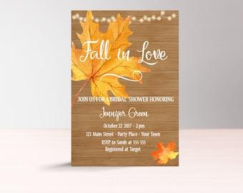 Fall in Love Bridal Shower Invitation Printable, Fall Bridal Shower Invitation, Instant Download, Autumn Bridal Shower Invites, Fall Leaf