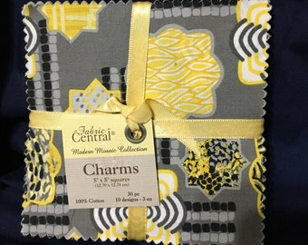 Black, Grey, and Yellow Fabric Charm Pack Modern Mosaic Collection